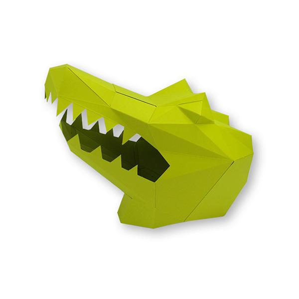AGENT PAPER - Masque enfant en papier 3D Crocodile a monter - Des 5 ans