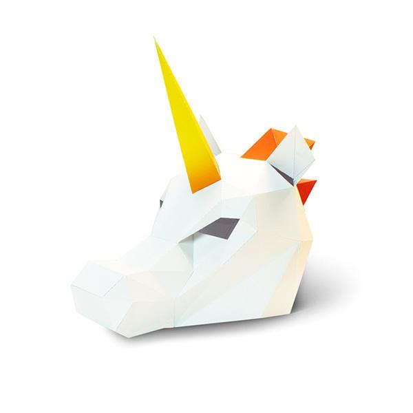 AGENT PAPER - Masque enfant en papier 3D Licorne a monter - Des 5 ans