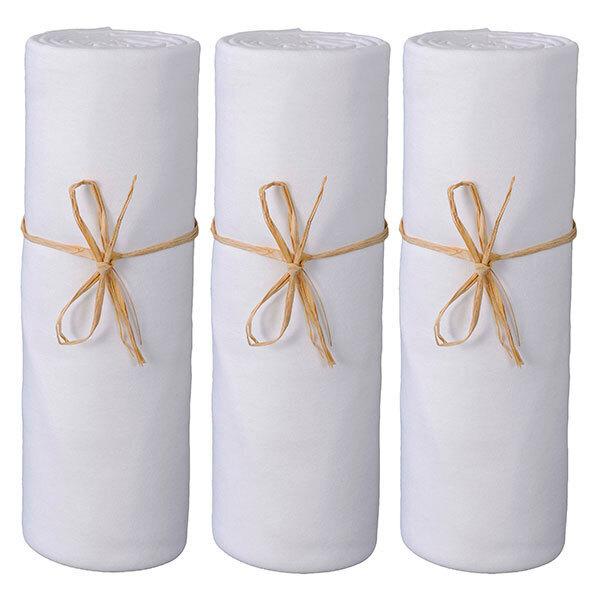 P'tit Basile - 3 Draps-housses Jersey 100% coton Bio 70x140 cm- Blanc