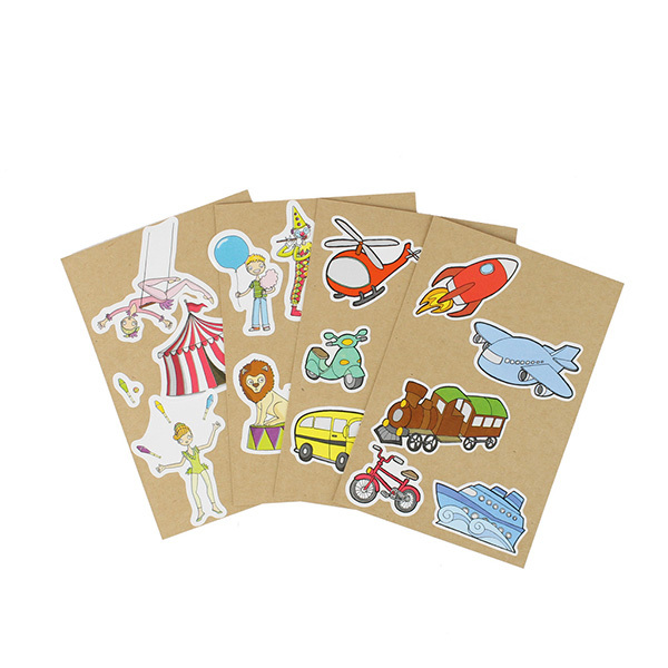 AGENT PAPER - 4 Cartes à Sticker CirqueTransport - Dès 5 ans
