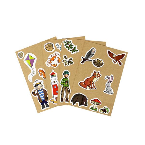 AGENT PAPER - 4 Cartes à Sticker Forêt Plage - Dès 5 ans