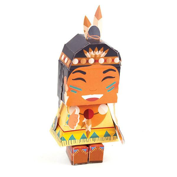 AGENT PAPER - Figurine Papertoy Indienne imprimé - Dès 5 ans