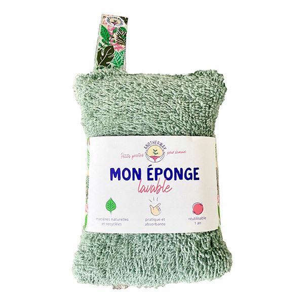 Anotherway - Eponge lavable et réutilisable verte