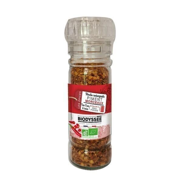 Biodyssée - Piment en morceaux Moulin rechargeable 35g