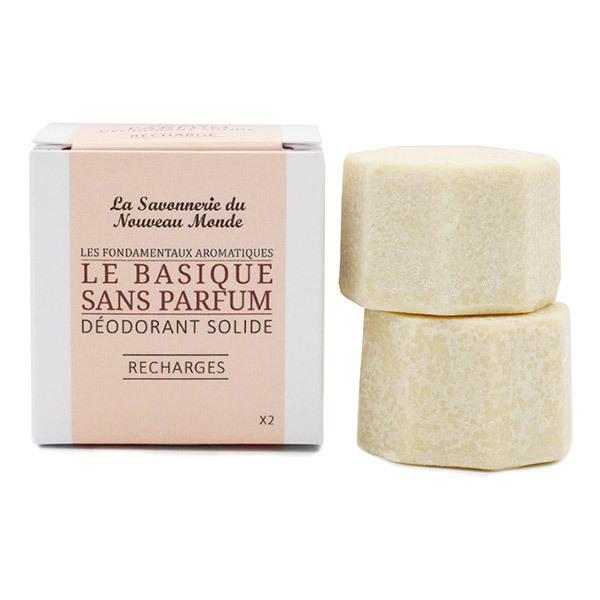 La Savonnerie du Nouveau Monde - Recharges déodorant solide le Basique sans parfum 2x30g
