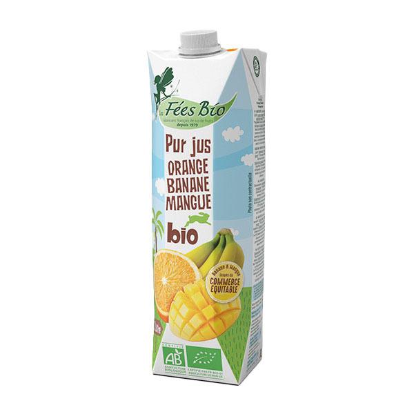 Les Fées bio - Pur jus orange, banane et mangue 1L