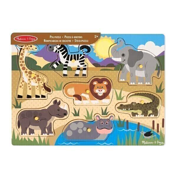 Melissa & Doug - Puzzle en bois à boutons Safari - Dès 2 ans