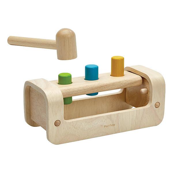 Plan Toys - Banc à marteler 3 bâtons en bois naturel - Dès 12 mois