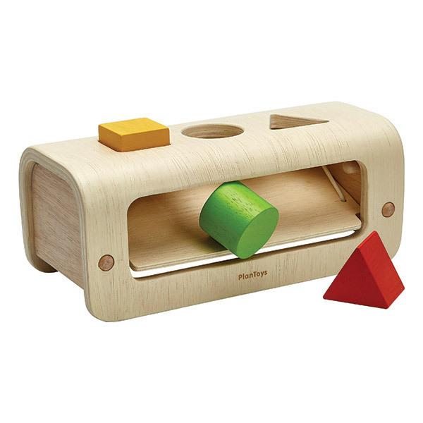 Plan Toys - Banc à marteler 3 formes en bois naturel - Dès 12 mois