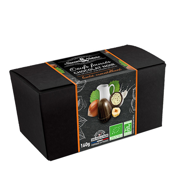 Saveurs & Nature - Ballotin d'oeufs fondants et croustillants au chocolat noir 160g