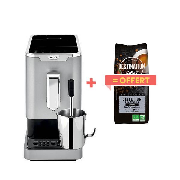 Scott - Machine à café Slimissimo & Milk + 1kg café grains offert