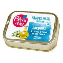 Pléniday - Sardines à l'huile d'olive vierge extra pauvres en sel 115g