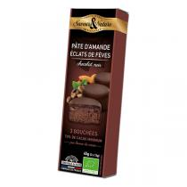 Saveurs & Nature - Bouchées chocolat noir 70% - pâte d'amande & fèves 45g