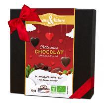 Saveurs & Nature - Coffret de 16 coeurs au chocolat noir et lait 125g
