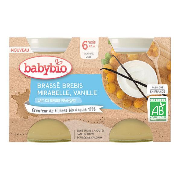 Babybio - Brassé au lait de brebis mirabelle vanille 2 x 130g
