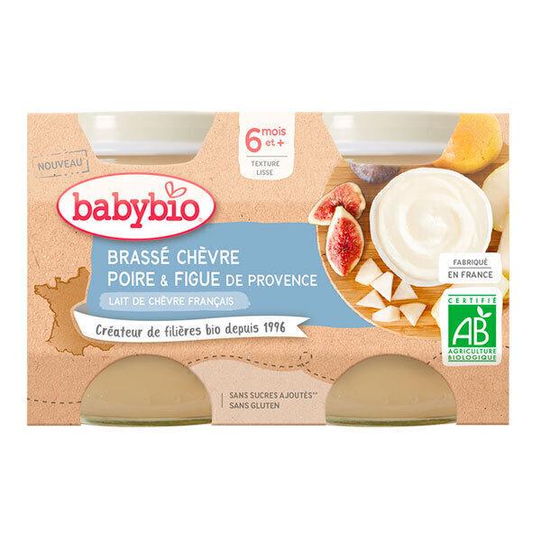 Babybio - Brassé au lait de chèvre poire et figue dès 6 mois 2x130g
