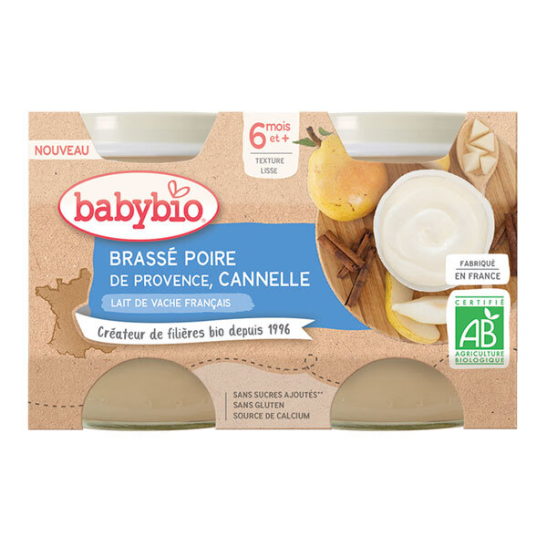 Babybio - Brassé poire de Provence cannelle dès 6 mois 2 x 130g