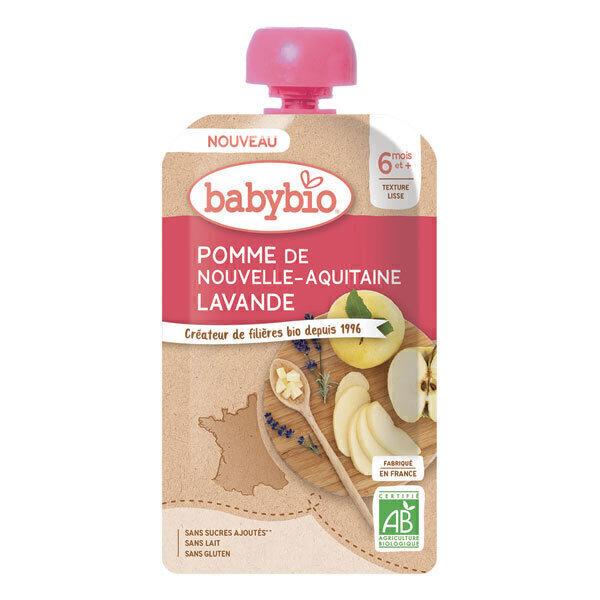 Babybio - Gourde pomme de Nouvelle-Aquitaine lavande dès 6 mois 120g