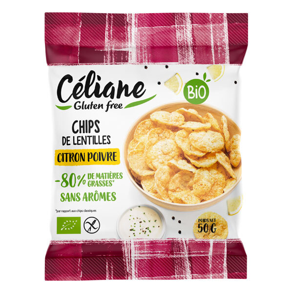 Céliane - Chips de lentilles citron poivre 50g