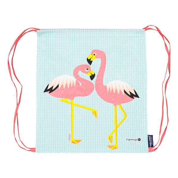 Coq En Pâte - Sac à coulisse coton bio Flamingo bleu