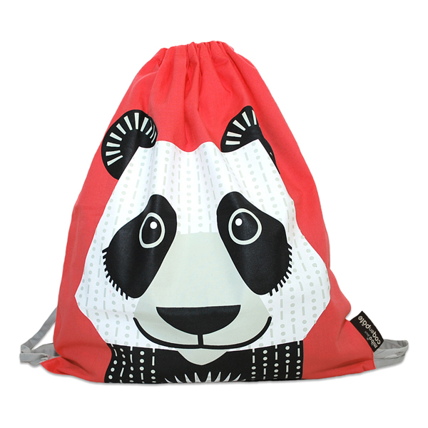 Coq En Pâte - Sac à coulisse coton bio Panda rouge