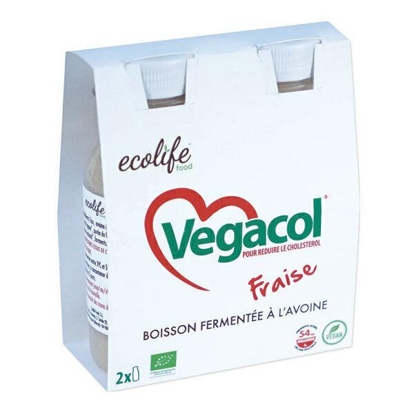 Ecolife food - Vegacol Boisson fermentée à l'avoine fraise 2x220ml