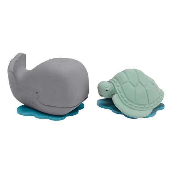 Hévéa - Lot de 2 jouets de bain en caoutchouc naturel baleine et tortue