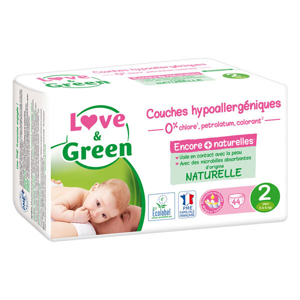 Love & Green - 44 Couches hypoallergéniques - T2, 3-6 kg