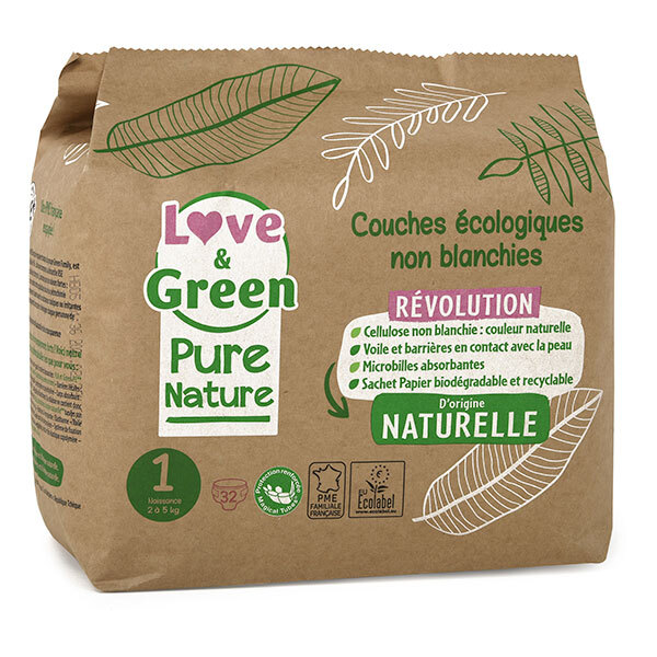 Love & Green - Pack 4x32 Couches Pure Nature - T1, 2-5 kg