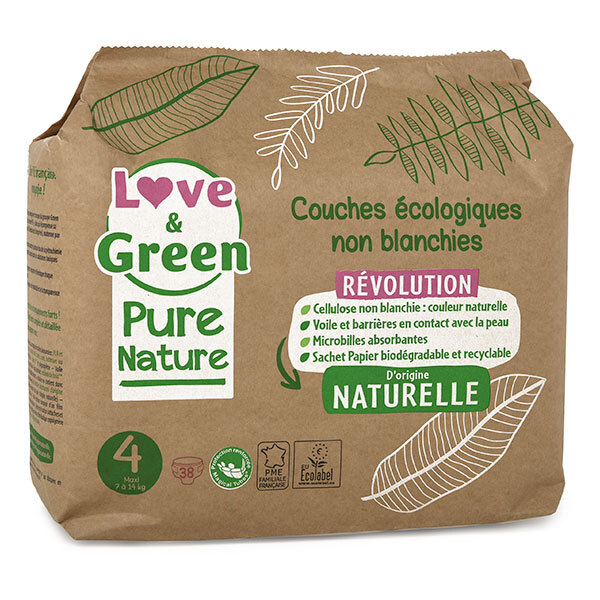 Love & Green - Pack 4x38 Couches Pure Nature - T4, 7-14 kg