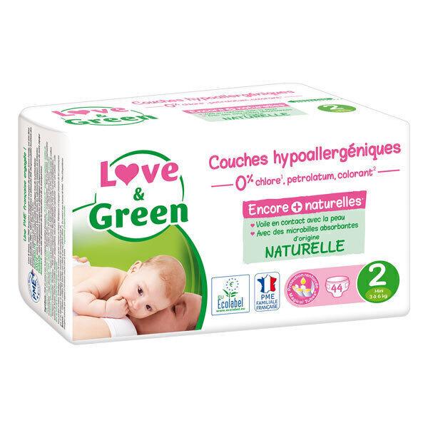 Love & Green - Pack 4x44 Couches hypoallergéniques - T2, 3-6 kg