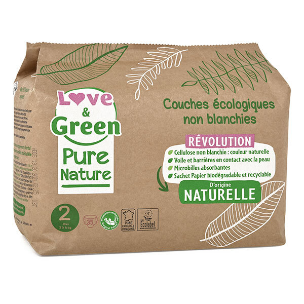 Love & Green - Pack 8x35 Couches Pure Nature - T2, 3-6 kg
