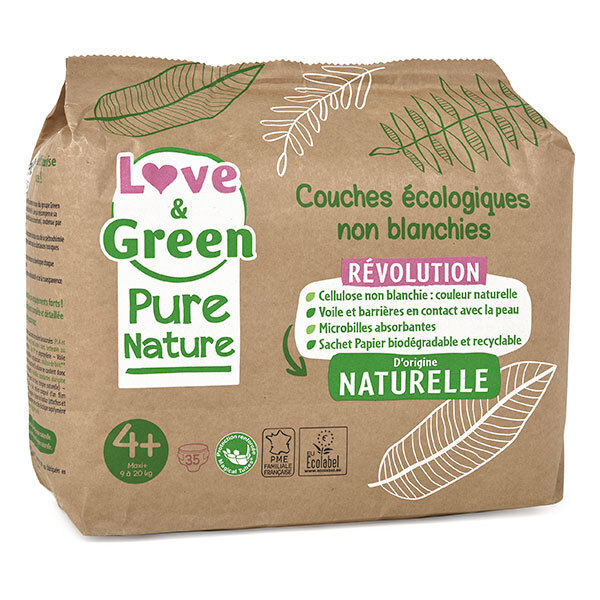 Love & Green - Pack 8x35 Couches Pure Nature - T4+, 9-20 kg