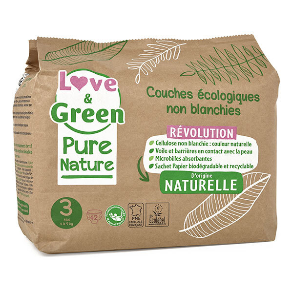 Love & Green - Pack 8x42 Couches Pure Nature - T3, 4-9 kg