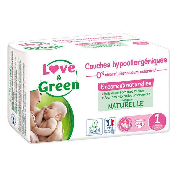 Love & Green - Pack 8x44 Couches hypoallergéniques - T1, 2-5 kg