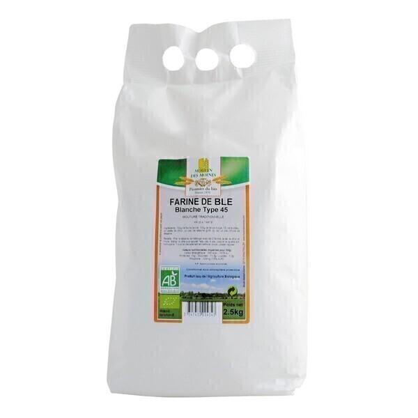 Moulin des Moines - Farine de blé blanche T45 2,5kg