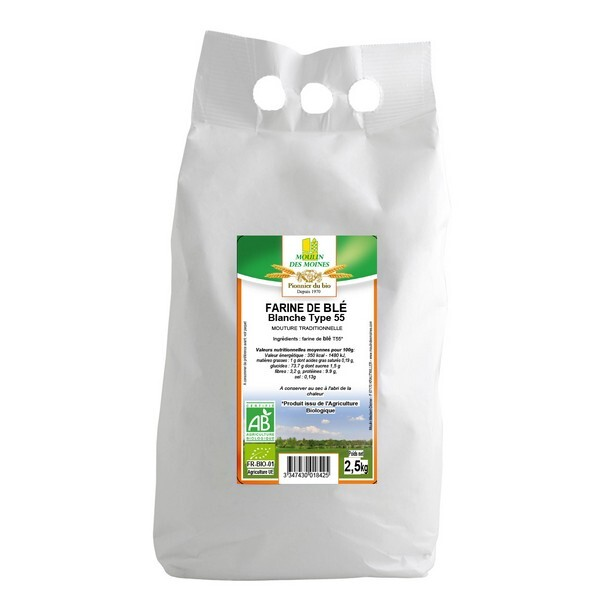 Moulin des Moines - Farine de blé blanche T55 2,5kg