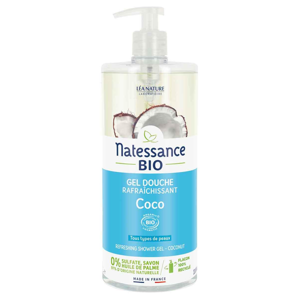 Natessance - Gel douche rafraichissant à l'eau de coco 1L