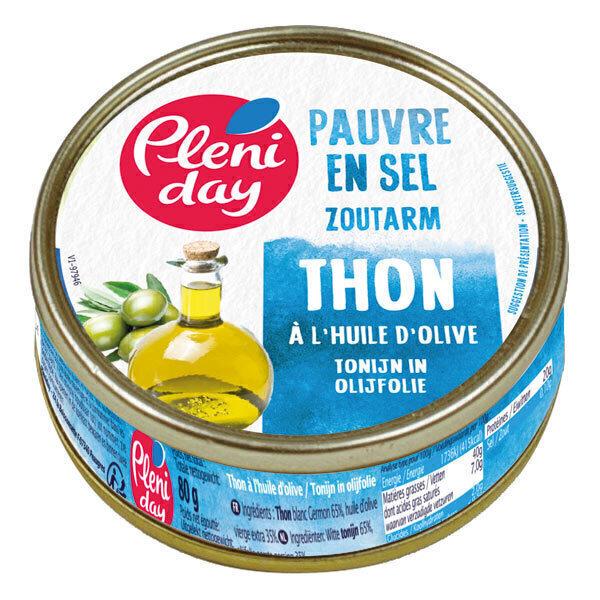 Pléniday - Thon à l'huile d'olive pauvre en sel 90g
