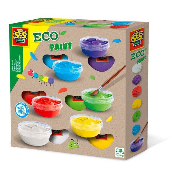 SES Creative - 6 pots de gouache écologique - Dès 3 ans