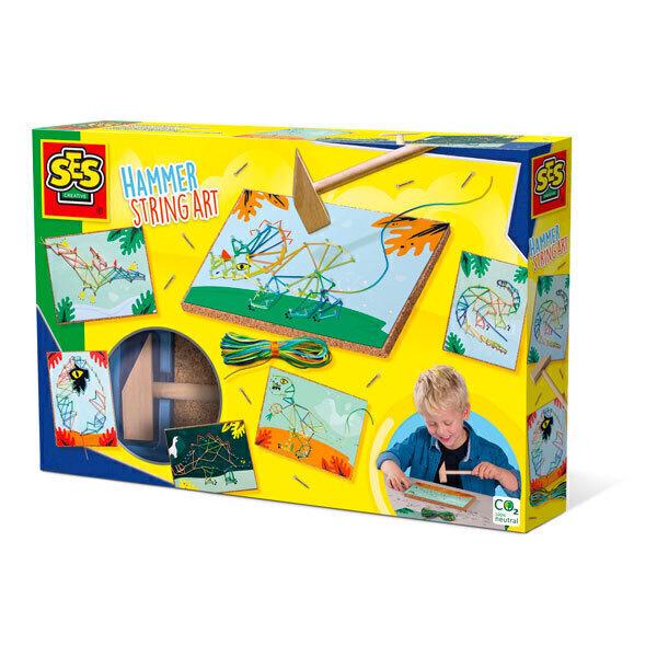 SES Creative - Kit Dinosaures à la ficelle avec marteau - Dès 5 ans