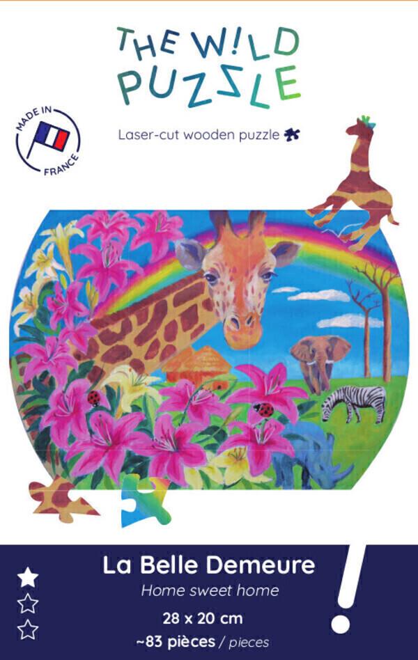 The Wild Puzzle - Puzzle en bois 83p Girafe: La belle demeure