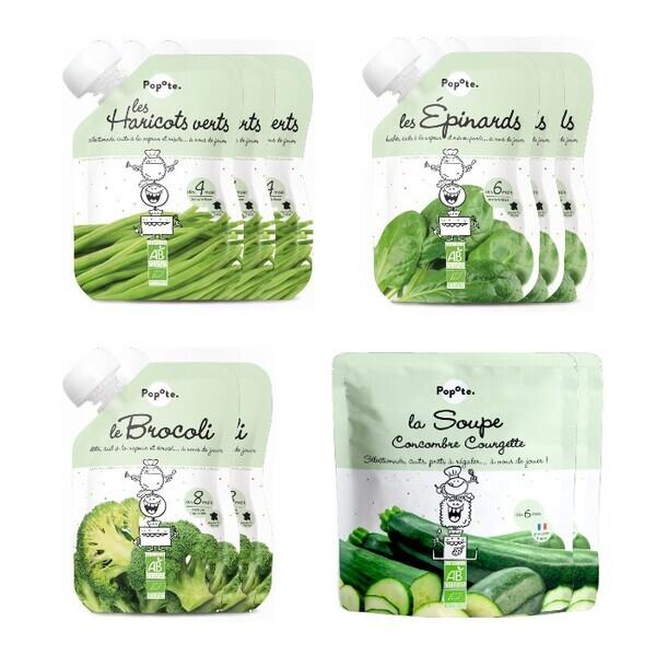 Popote - Les légumes verts - Lot de 10 - purées en gourde pour Bébé