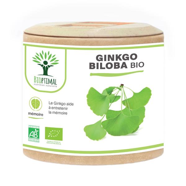 Bioptimal - Ginkgo Biloba bio - Complément alimentaire Mémoire - 60 gélules