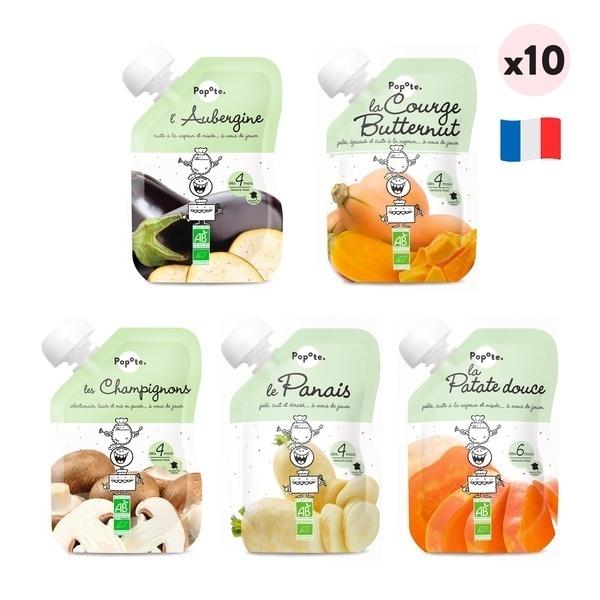 Popote - Les légumes dès 4 mois - Lot de 10 - purées en gourde pour Bébé