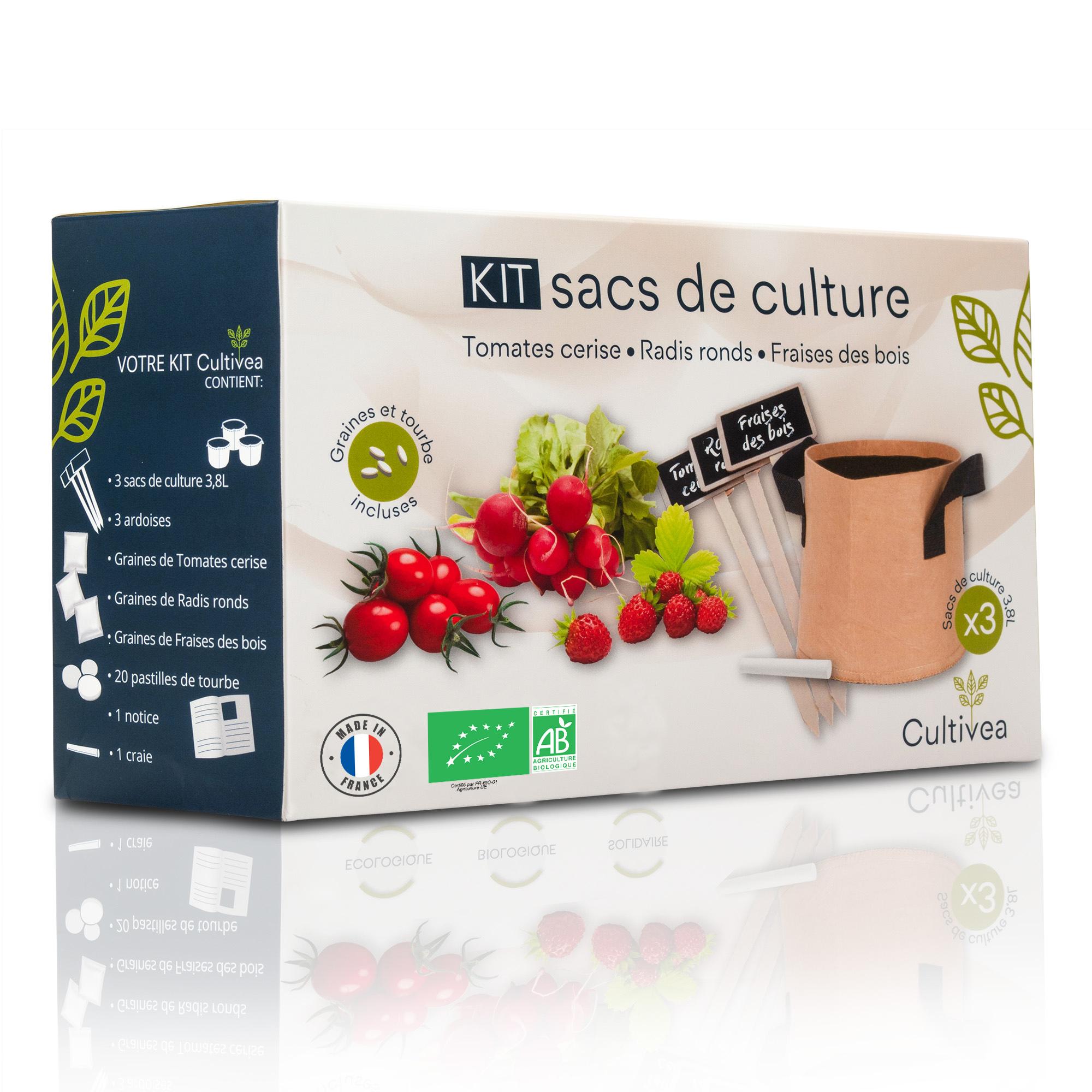 Cultivea - Kit sacs de culture BIO* (Graines Tomate, Fraise, Radis)
