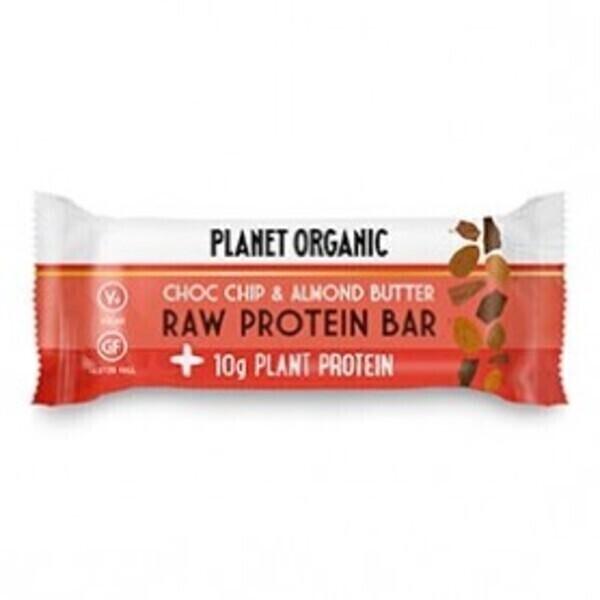Planet Organic - Barre Protéinée Pâte d'Amandes-Pépites de Chocolat 50g Bio