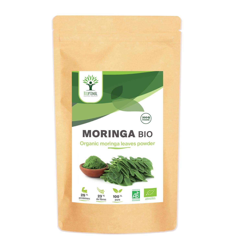 Bioptimal - Moringa Bio en Poudre - 300g - Protéines MultiVitamines Calcium