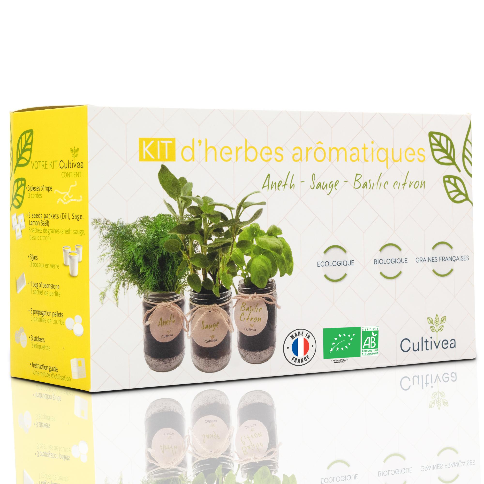 Cultivea - Kit d'herbes aromatiques BIO* Graines Aneth,Sauge,Basilic citron