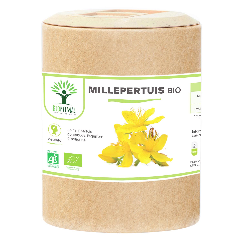Bioptimal - Millepertuis bio - Bonne humeur Déprime Hypericine - 200 gélules